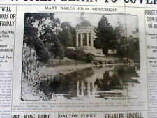 1927 newspaper w pic MARY BAKER EDDY monument MOUNT AUBURN MA Christian Science