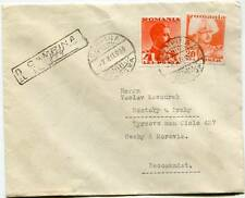 ROMANIA CAMPINA 7.XII 1939 REGISTERED COVER ABROAD to CZECHIA-MORAVIA WW2 Occ.