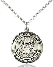 925 Sterling Silver Army St Christopher Military Soldier Catholic Medal Necklace
