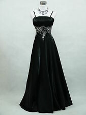 Cherlone Clearance Plus Size Satin Black Ballgown Wedding/Evening Dress UK 18-20