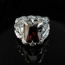 925 Solid Sterling Silver Dragon Claw Ring w CZ for Hell Angel Harley Biker SR04