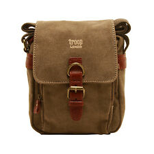 Troop London - Brown Classic Messenger/Body Bag in Canvas with Leather Trim