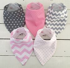 Bandana Dribble Bib Bundle x 5 Girls ~ Pretty Pink & Grey Prints ~ Bilibib