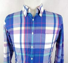 GANT Rugger Indian Madras Large Shirt EZ OBD Button Up Plaid Multi Color Oxford