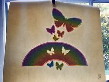 Vintage Neon and Glitter Rainbows and Butterflies Iron On Transfer Made in USA