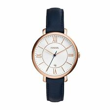 Fossil Women's ES3843 Jacqueline Silver Dial Navy Leather Watch