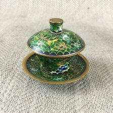 Cloisonne Miniature Cup Bowl Saucer Vintage High Quality Chinese Enamel Lidded
