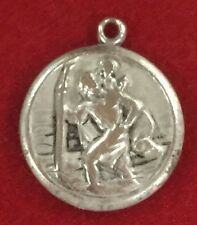Rare Antique Saint Christopher Travel Protection Silver 800 Medal /charm