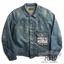 $2400 RRL Ralph Lauren Limited Edition Indigo Cowhide Leather Jacket Coat-MEN- M