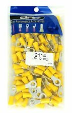 "(100 PACK) 1/4"" 12-10 GAUGE YELLOW VINYL RING TERMINAL CONNECTORS - SHIPS FREE!"