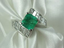 Emerald Diamond Ring 18K White Gold Green G/VS Fine Jewelry Estate $10000