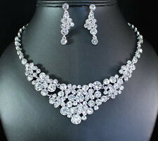 CLOVER CLEAR AUSTRIAN RHINESTONE BIB NECKLACE EARRINGS SET BRIDAL WEDDING N1686