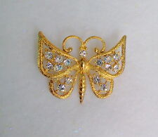 BRIGHT CLEAR CRYSTAL BUTTERFLY BROOCH 18K GOLD PLATED FINISH CZECH MADE
