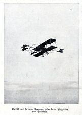 Curtis mit seinem Aeroplan über dem Flugfelde von Bethénie 1909