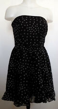 TRIPP NYC Strapless Polyester Chiffon Black Skull Babydoll Dress S