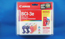 CANON INK Value Pack BCI-3e (Cyan, Magenta ,Yellow) Brand New Sealed Genuine