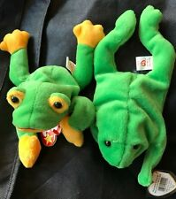 2 Ty Beanie Babies Smoochy the Frog & Legs the Frog Baby Animals Plush