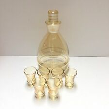 Vintage Indiana Glass Decanter w/Ground Stopper & 6 Shot Glasses