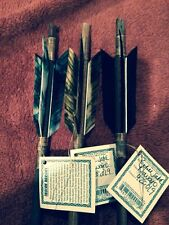 4 Handmade Navajo Indian  Arrows w/different feathers & Stone chipped Arrowheads