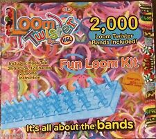 HGL FUN 2000 RUBBER BANDS 2 x LOOMS TWISTER KIT 25 S-CLASPS 12 CHARMS HOOK TOOL