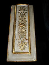 Vintage 50's 60's BORGHESE Pottery  Mod Beige & Gold Box 3 1/2 x 9 inch Chunky