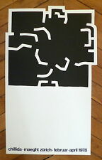CHILLIDA Affiche originale Lithographie 1978 art abstrait abstraction Espagne
