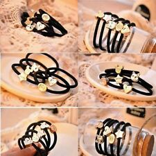 10Pcs Womens Black Elastic Hair Ties Band Ropes Ring Ponytail Holder Accessories