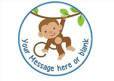 Monkey in a tree ND1 Boy version personalised round cake topper icing