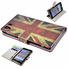 Flag Flip Leather Wallet cards Holster Shell Case Cover For Sony Xperia Z1 L39h