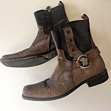 Sz 12 Mark Nason Crosby Zip Ankle Boot Distressed Dragon Italy Rock Never Dies