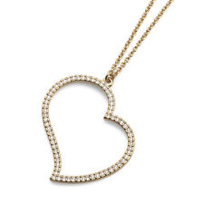 Yellow Gold Heart Pendant Chain Necklace Clear Swarovski Elements Oliver Weber