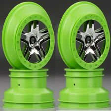 Traxxas 6872X Wheels Split-Spoke Chrome Green Beadlock (4) Slash 4X4