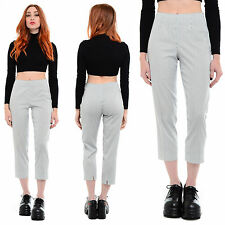 Striped PIAZZA SEMPIONE Audrey High-Waist Slim Tapered Cropped Ankle Capri Pants