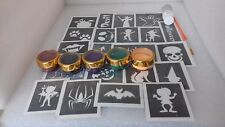 Halloween themed large glitter tattoo set inc 60 stencils + glitter + glue ghost