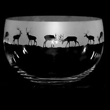 *ANIMAL GIFT*  22cm Boxed CRYSTAL GLASS BOWL with engraved STAG / DEER Frieze
