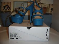 Woman brand new ALDO Alesen royal blue leather platform strappy sandal shoe sz 9
