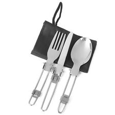 New 3-in-1 Outdoor Travel Camping Utensil Set Foldable Knife Fork Spoon Flatware