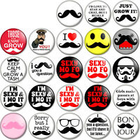 """Movember 25mm 1"""" Pin Button Badges Moustache 25 designs Tash Novelty Quirky Fun"""