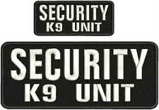 SECURITY k9 unit embroidery patches 4x10 and 2x5 hook on back white letters