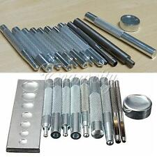 PRO 11 Craft Tool Die Punch Snap Rivet Setter Base Kit Set For DIY Leather Craft