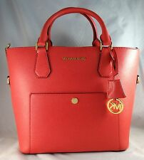 MICHAEL MICHAEL KORS GREENWICH LARGE WATERMELON SAFFIANO LEATHER GRAB BAG