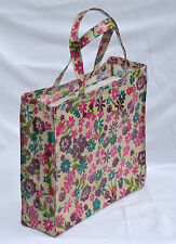 Quality handmade 100% Cotton Oilcloth shopping/holiday tote Bag - Flower Print