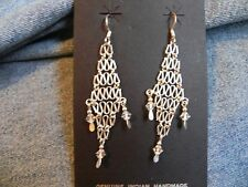 Woven Sterling Silver .925 with Clear Crystal Beads Dangle Earrings Taxco Mexico