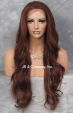 Heat Resistant Extra long  Wavy LACE FRONT WIG 33/130 Auburn Red mix 25.5 ws