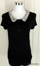 Pleione Anthropologie Black Stetch Knit Short Sleeve Lace Collar Top FITS S