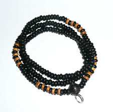 Thai Antique Necklace Black/Brown Wooden Bead Buddha Buddhist Amulet for pendant