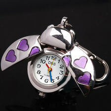 Silver Beetle Purple Heart Key Ring Children Girls Boys Pocket Watches & Box
