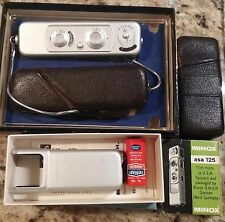 Vintage Minox B Silver Subminiature Spy Camera - flash and film w/ Box Manual