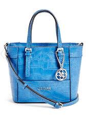 NWT Guess Delaney Crossbody mini Tote purse Handbag Crocodile embossed Blue