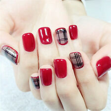 24pcs Short Fake Nails Art Tips Acrylic Nail False French Artificial Full Nail